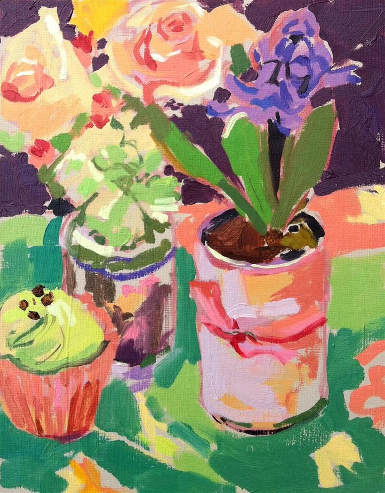"""Cupcake, rose and hyacinth"" original fine art by Haidee-Jo Summers"