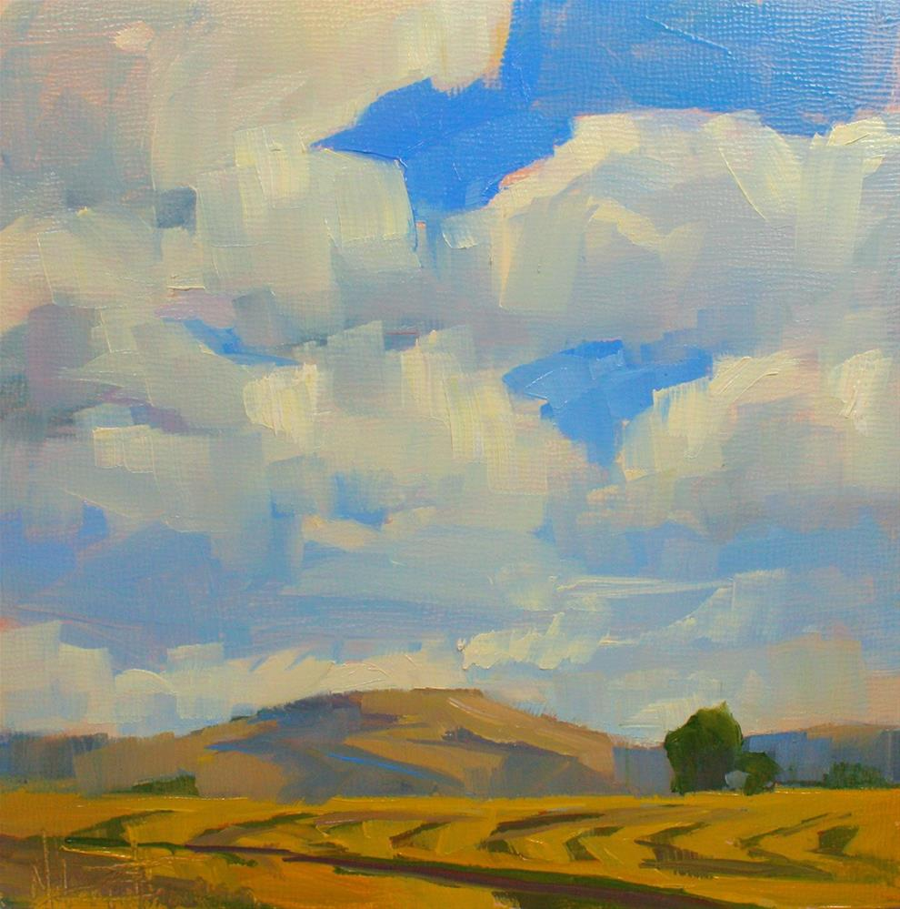 """Clouds Over the Hay"" original fine art by Melanie Thompson"