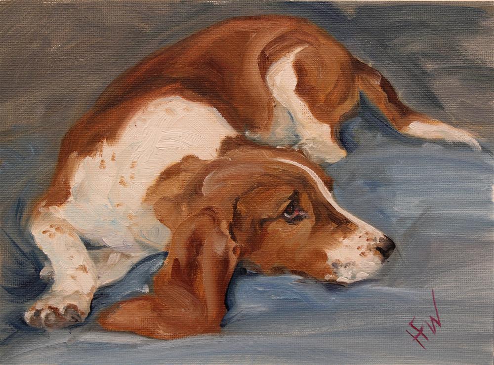 """""""Young Basset"""" original fine art by H.F. Wallen"""