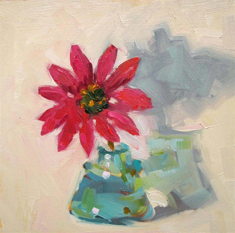 """Daisy 6x6 oil on panel in honor of baby daisy"" original fine art by Mary Sheehan Winn"