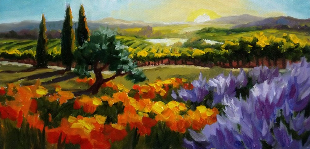 """Somewhere Over the Vineyard"" original fine art by Erin Dertner"