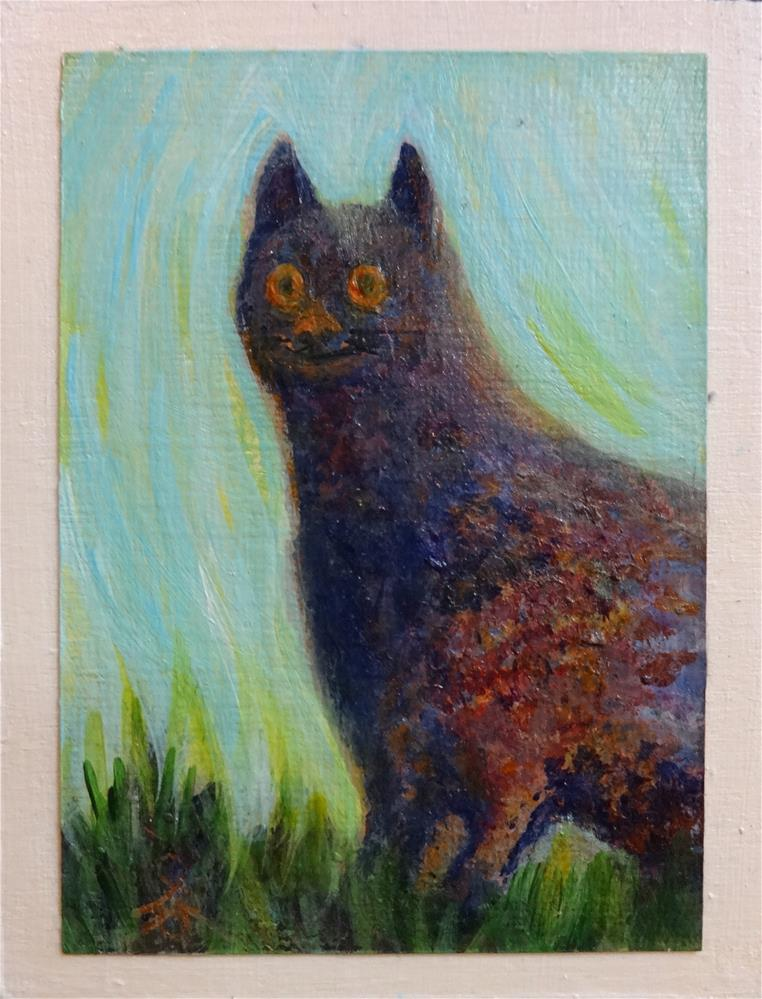 """3071 - Mounted - SYLVESTER CAT ACEO"" original fine art by Sea Dean"