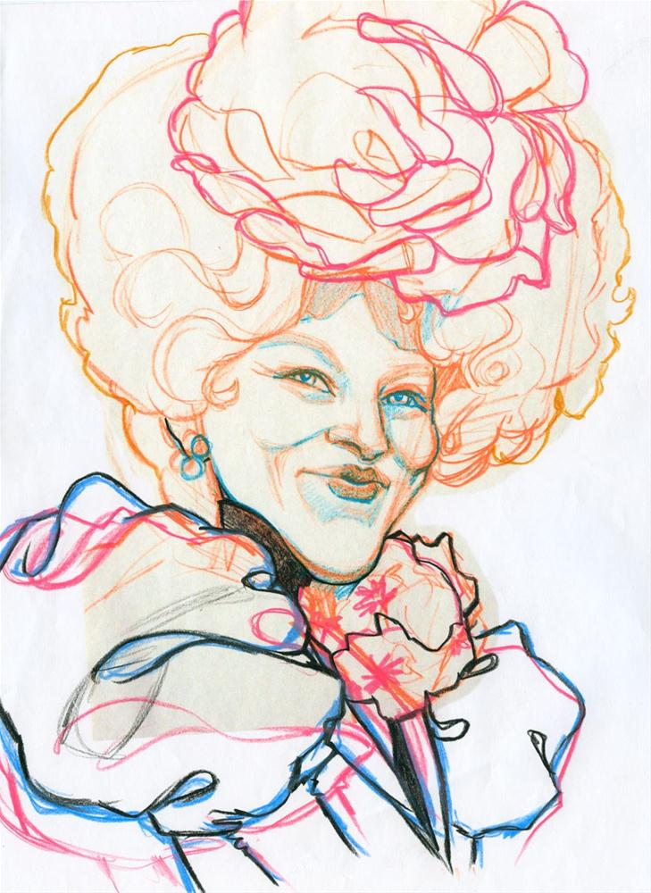 """Effie Trinket - Pre-sketch caricature"" original fine art by Rita Kirkman"