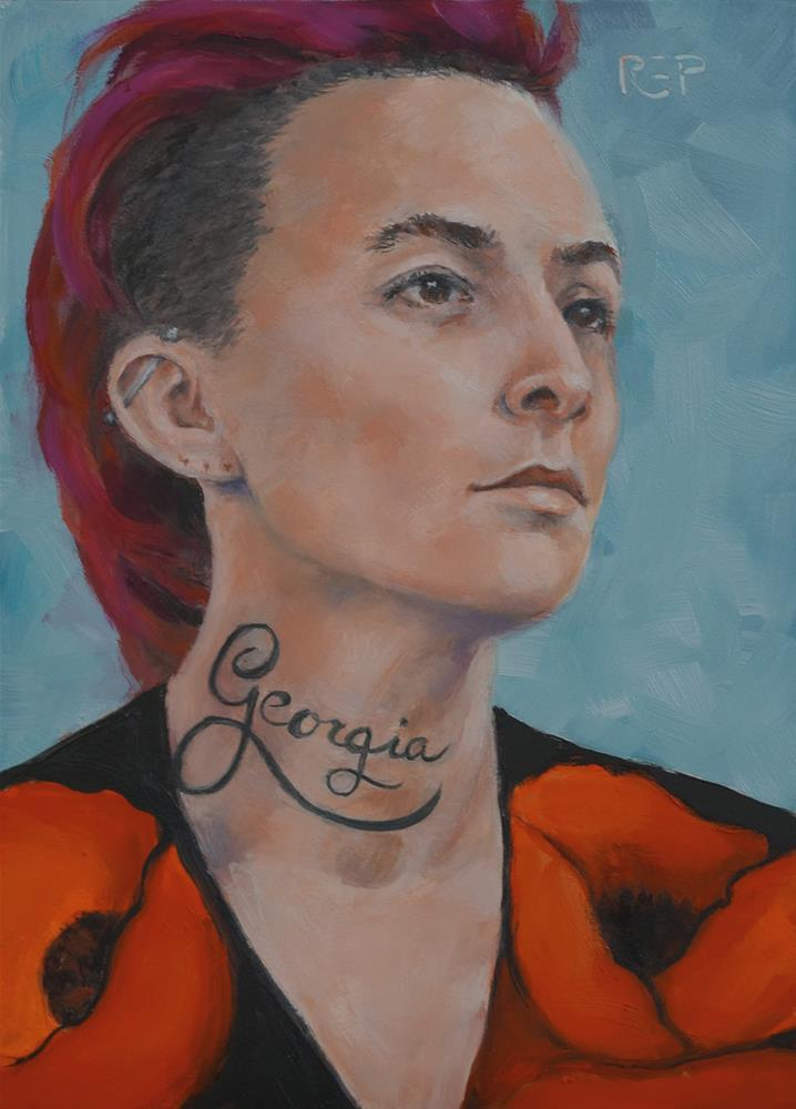 """O'Keeffe: The Girl with the Georgia Tattoo"" original fine art by Rhea  Groepper Pettit"