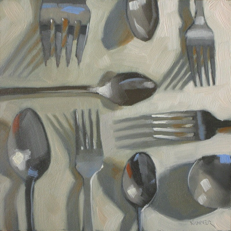 """Forks spoons and shadows 6x6 oil"" original fine art by Claudia Hammer"
