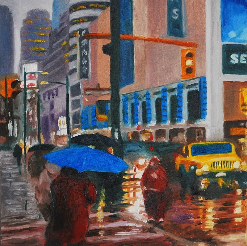 """Blue Umbrella"" original fine art by Gary Westlake"