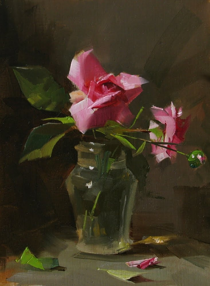 """Captain's Roses --- Sold"" original fine art by Qiang Huang"