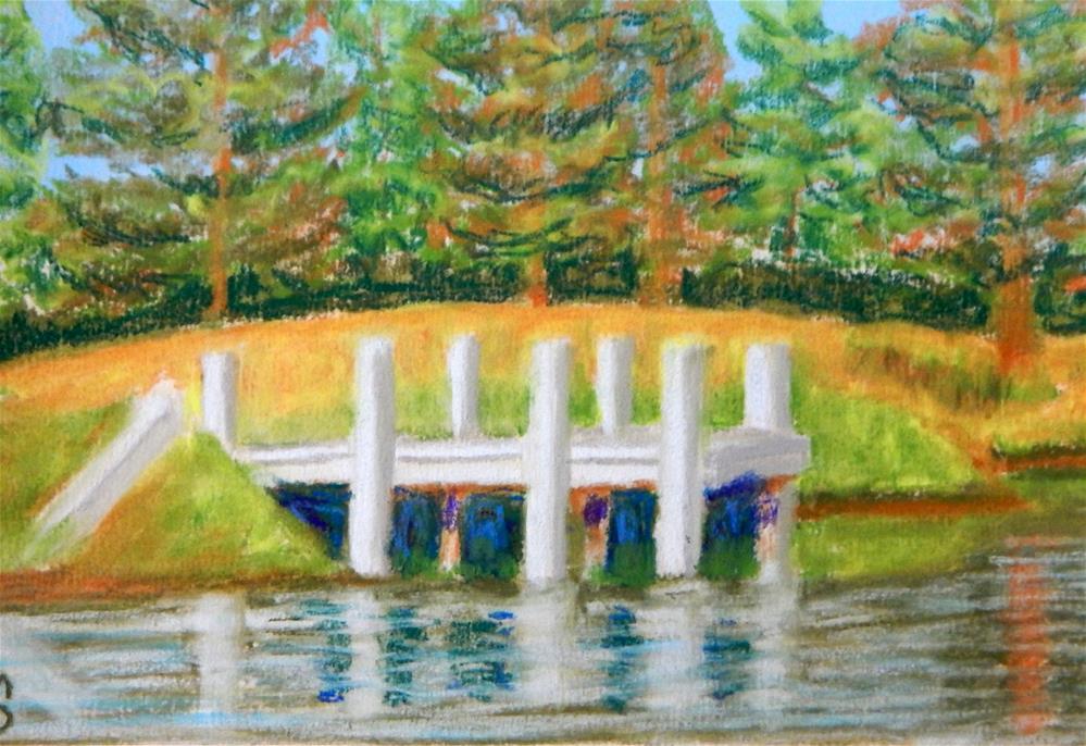 """Mallard Lakes Fishing Pier"" original fine art by Elaine Shortall"