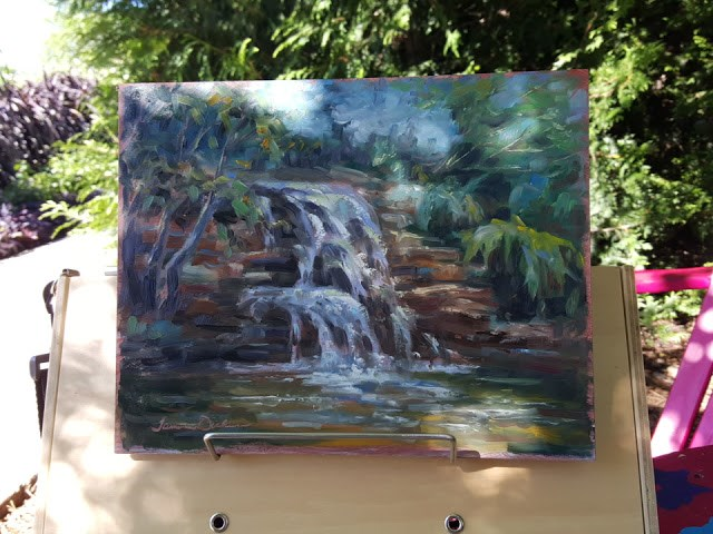 """Waterfall at Erickson Water Garden"" original fine art by Tammie Dickerson"