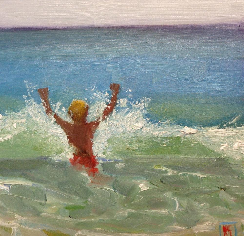 """Into The Wave, 6x6 Inch Oil Painting by Kelley MacDonald"" original fine art by Kelley MacDonald"
