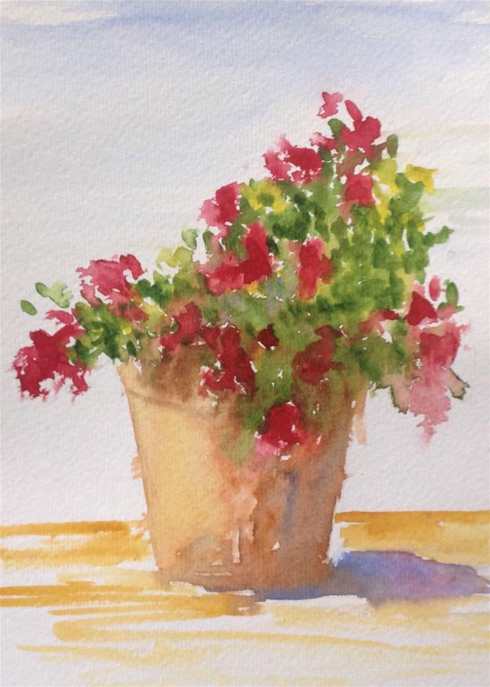 """Petunias in a Pot"" original fine art by Darla Brock"