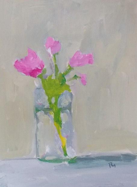 """Pink Posey"" original fine art by Pamela Munger"