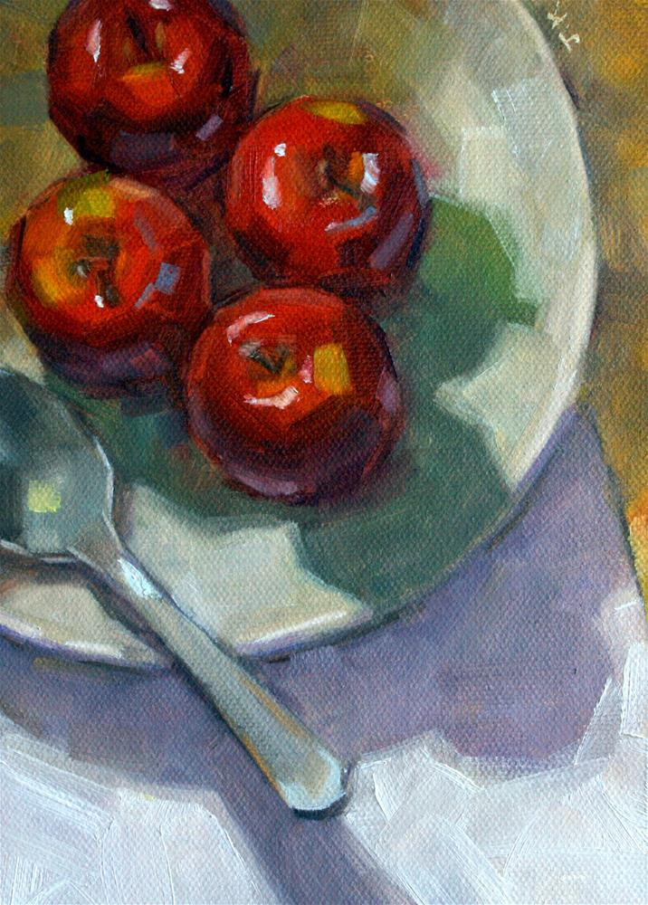 """Apples with Spoon"" original fine art by Jiyoung Kim"