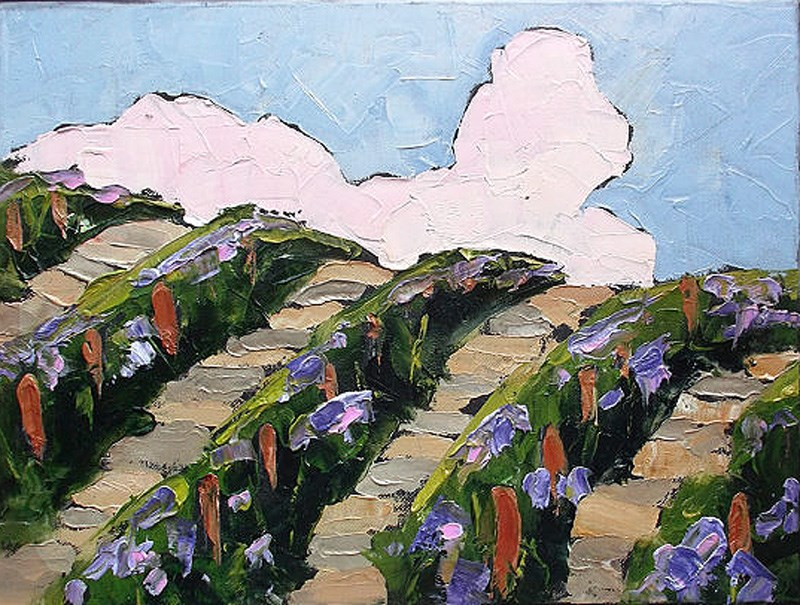 """Hillside Vineyard"" original fine art by lynne french"