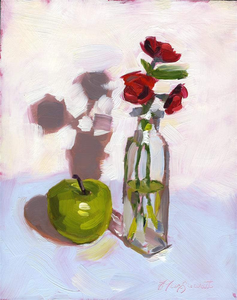 """Green Apple & Wild Roses"" original fine art by B. Rex Stewart"