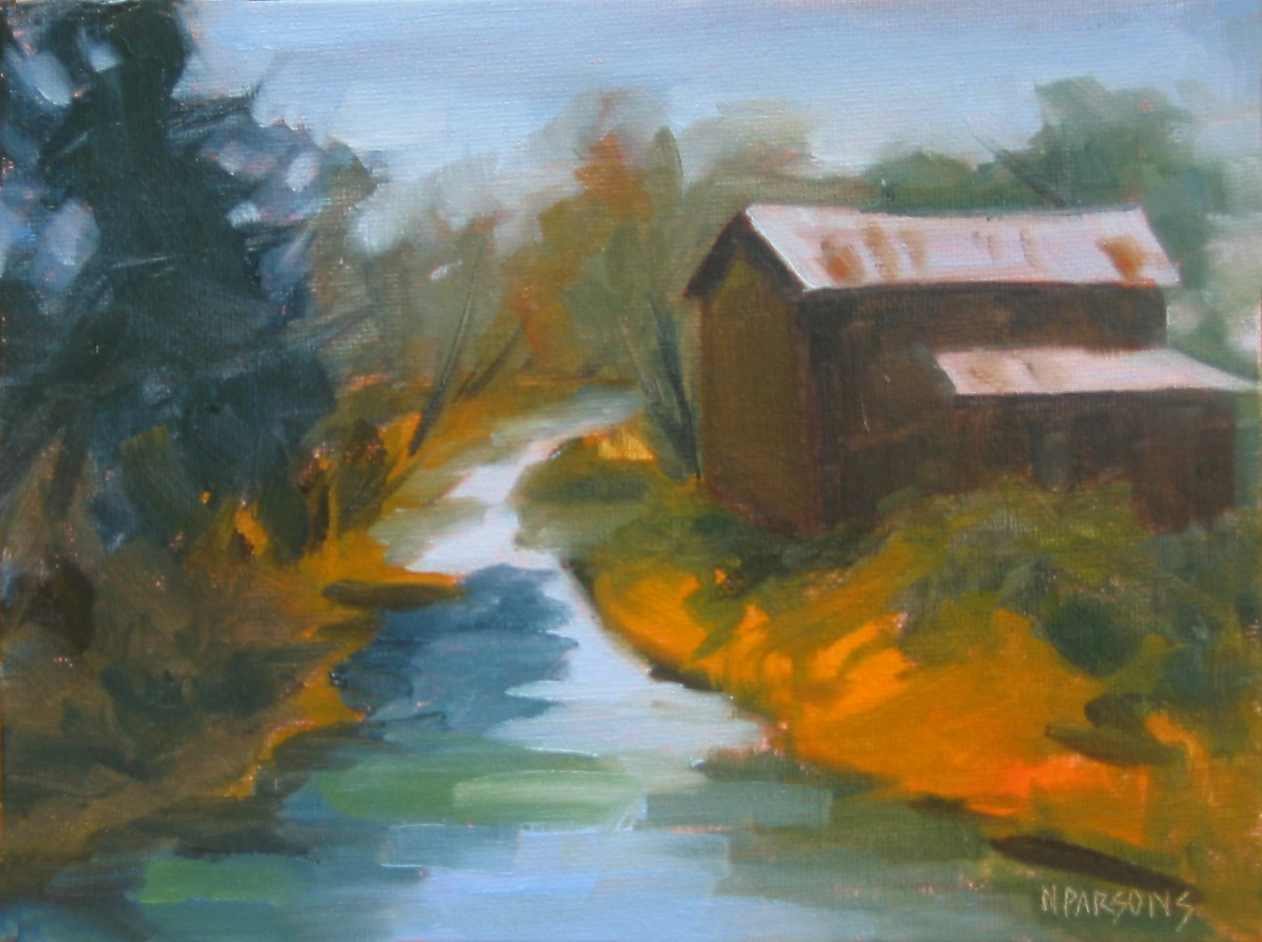 Down by the  Old Mill Stream original fine art by Nancy Parsons