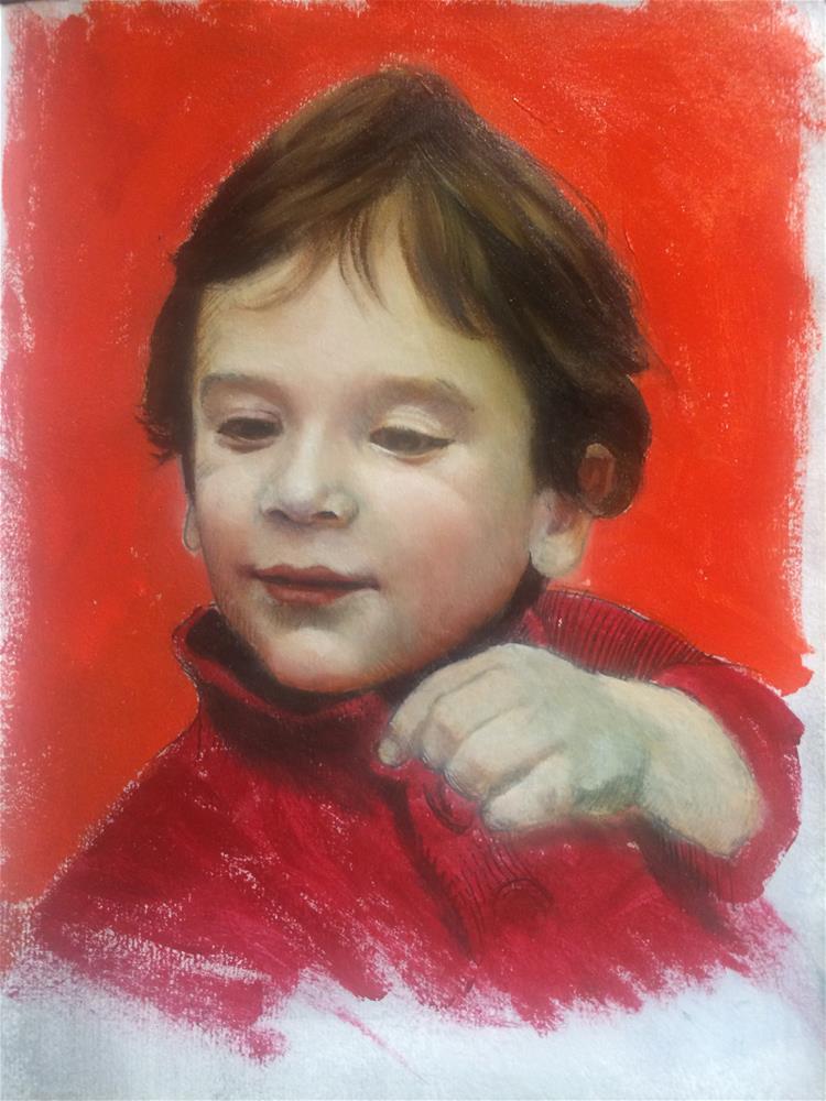 """""Dani-red"" oil on paper study 8×10 inches"" original fine art by Paulo Jimenez"