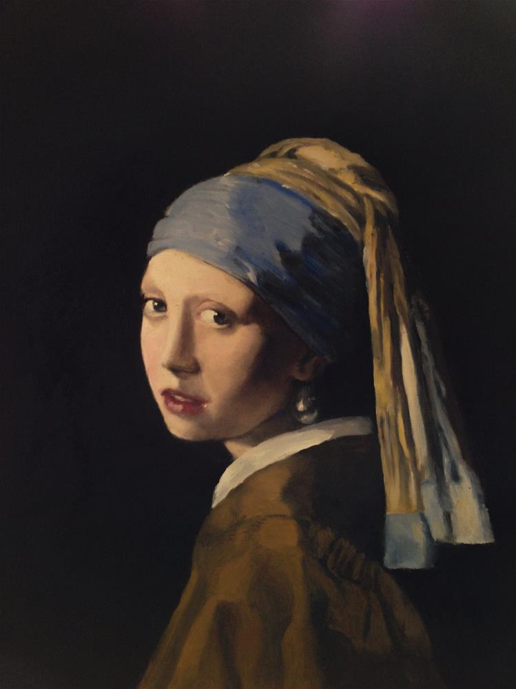 """Girl with the Pearl Earring"" original fine art by James Coates"