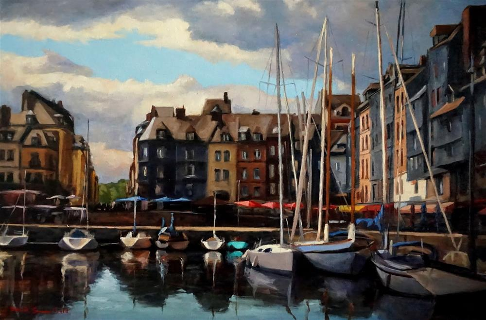 """Cloudy Day in Honfleur"" original fine art by Jonelle Summerfield"