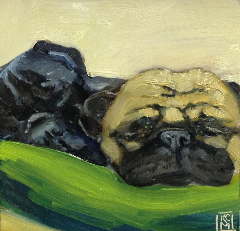 """Nap Buddies, 6x6 Inch Oil Painting of Pugs by Kelley MacDonald"" original fine art by Kelley MacDonald"