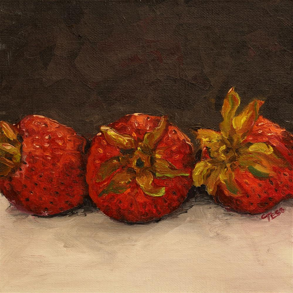 """Trio of Strawberries"" original fine art by Tess Lehman"
