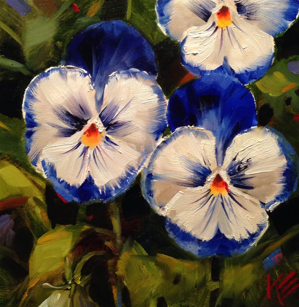 """Pansies in Blue"" original fine art by Krista Eaton"