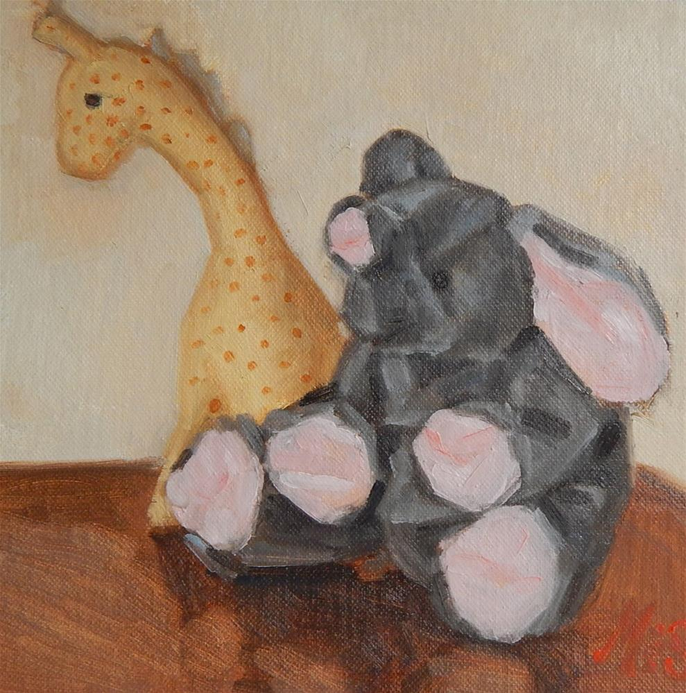 """Still Life With Elephant and Giraffe"" original fine art by Megan Schembre"