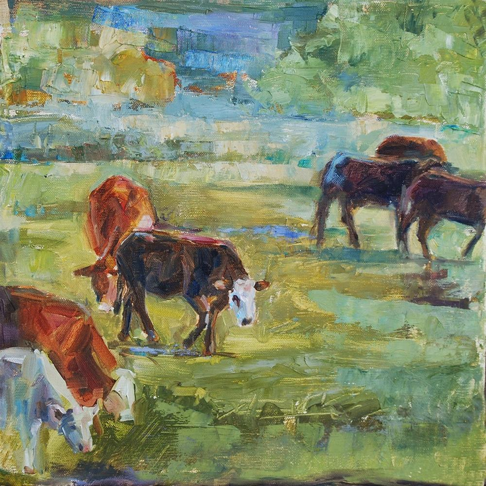 """The Gang's All Here - Cows, Original oil by Carol DeMumbrum"" original fine art by Carol DeMumbrum"
