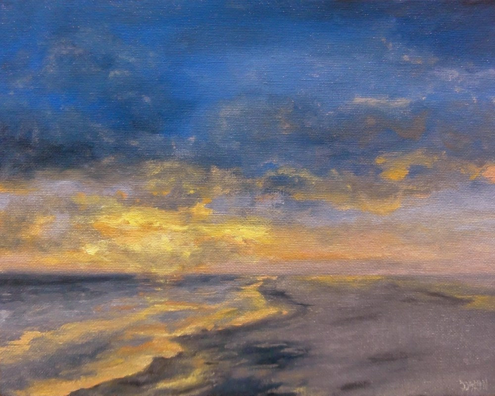 """Beach Sunset"" original fine art by Dalan Wells"