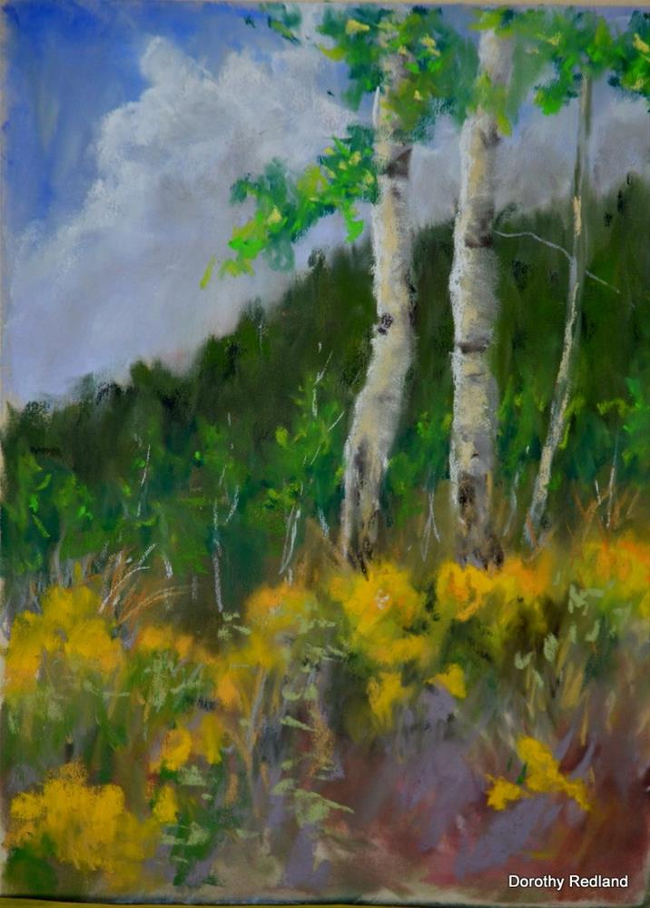 """Rabit brush and Aspen"" original fine art by Dorothy Redland"