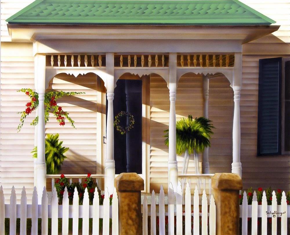 """""""Porch on Main Street"""" original fine art by Fred Schollmeyer"""