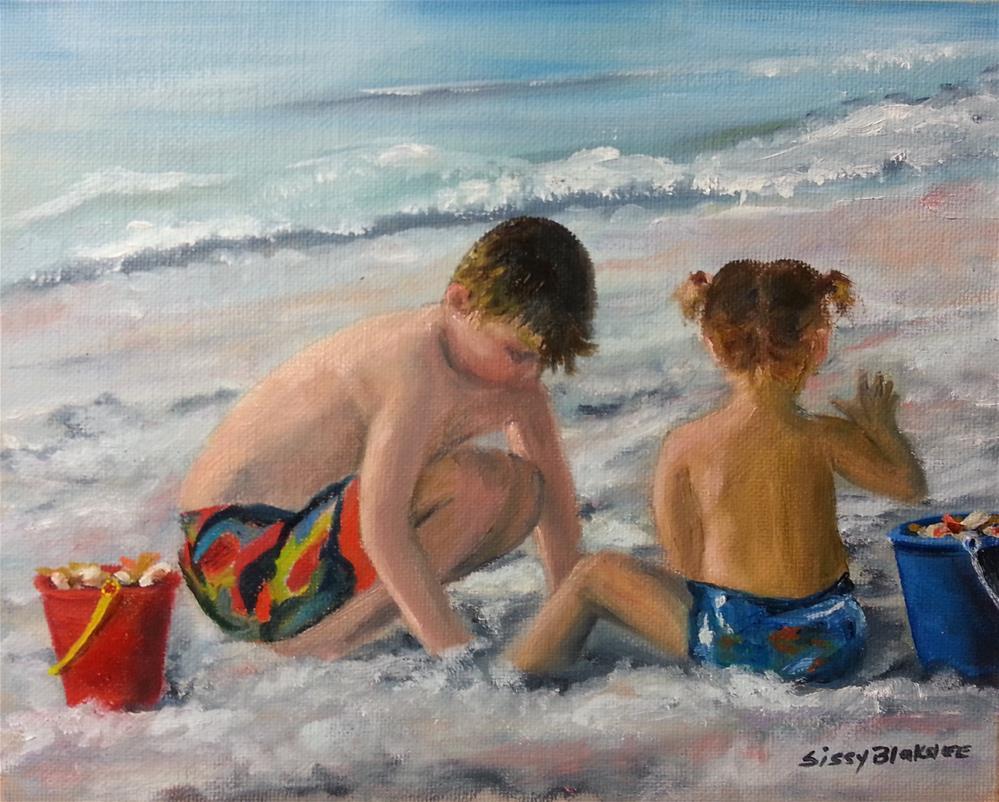 """""""Serious Seashelling"""" original fine art by Sissy Blakslee"""