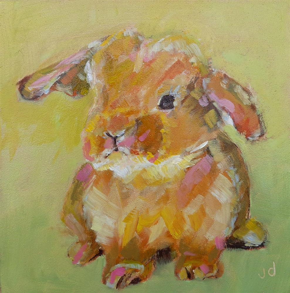 """""""Bunny love"""" original fine art by Jean Delaney"""