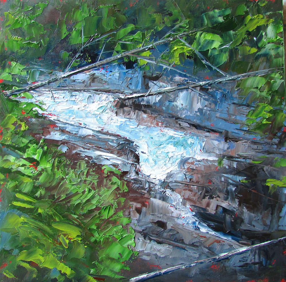 """8 x 8 inch oil River Scene"" original fine art by Linda Yurgensen"