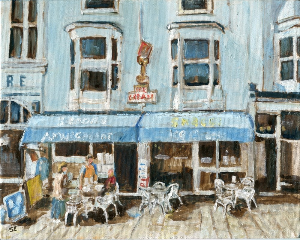 """Cafe on the Ryde Esplanade  The Isle of Wight"" original fine art by Stanley Epperson"