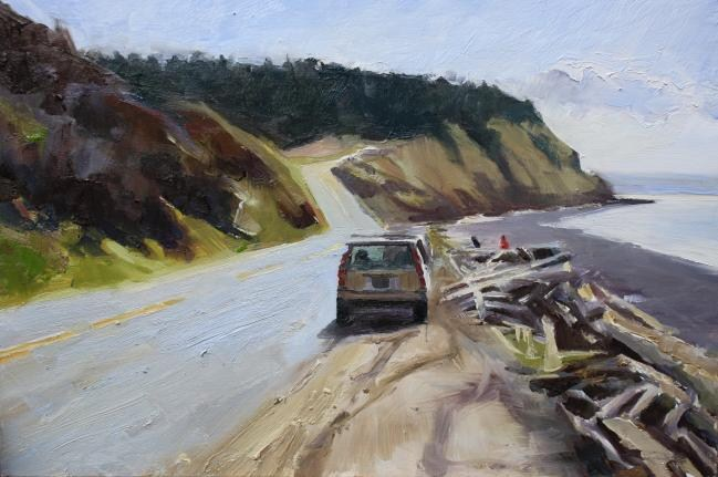 """Parked at Ebeys Landing Whidby Island, plein air, landscape painting by Robin Weiss"" original fine art by Robin Weiss"
