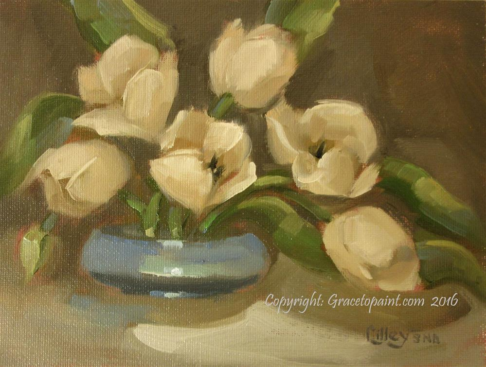 """Tulips in Blue Bowl"" original fine art by Maresa Lilley"