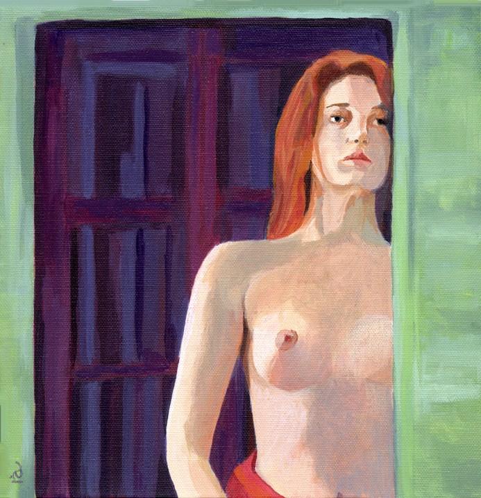 Dawn - acrylic female nude original fine art by Ria Hills