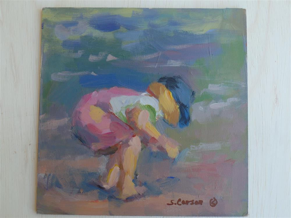 """Little Girl at the Beach"" original fine art by Suzanne Carson"