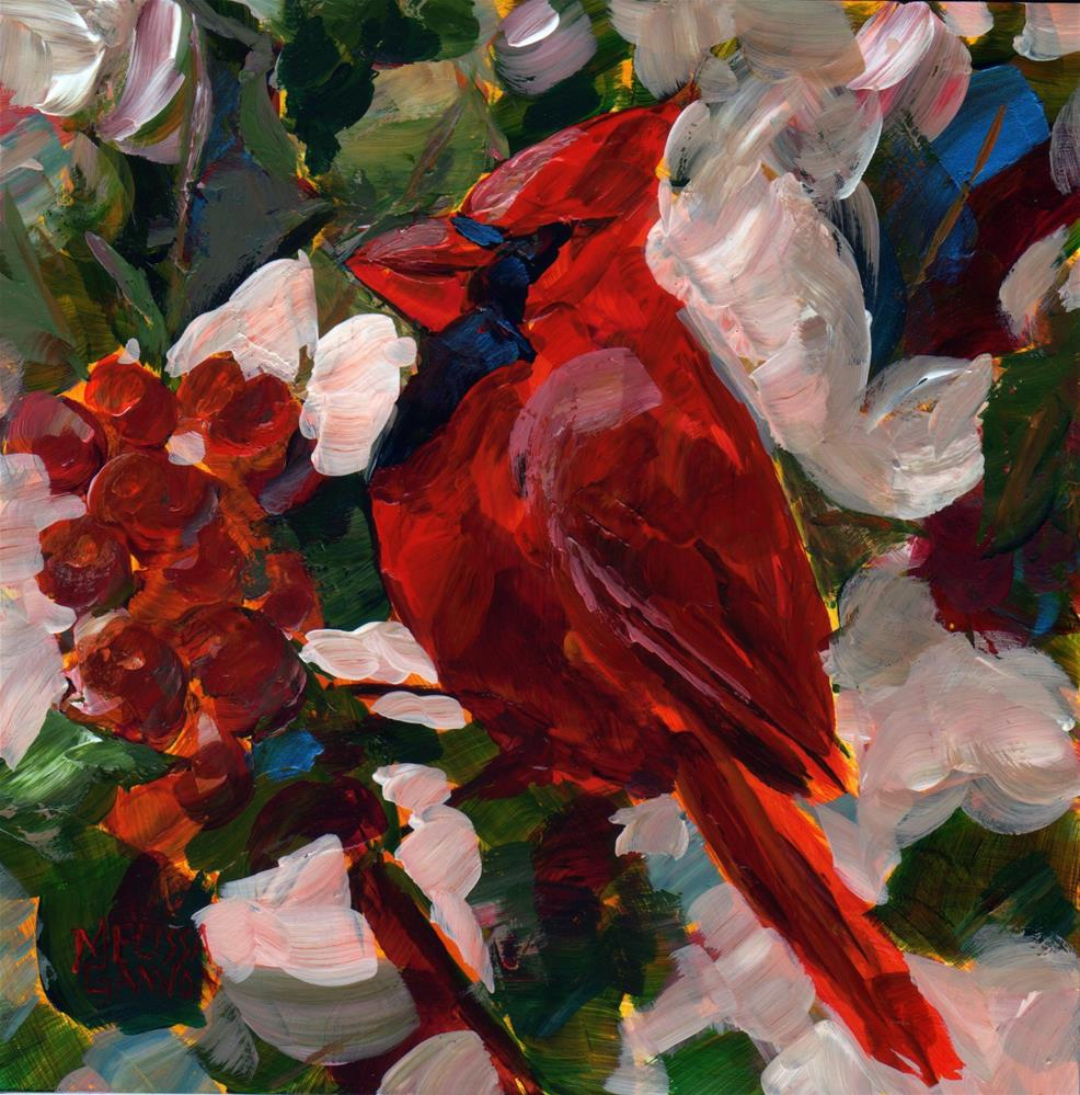 """The Cardinal and the Berries"" original fine art by Melissa Gannon"