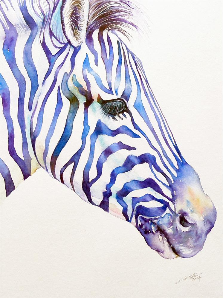 """Zebra Portrait in Blue"" original fine art by Arti Chauhan"
