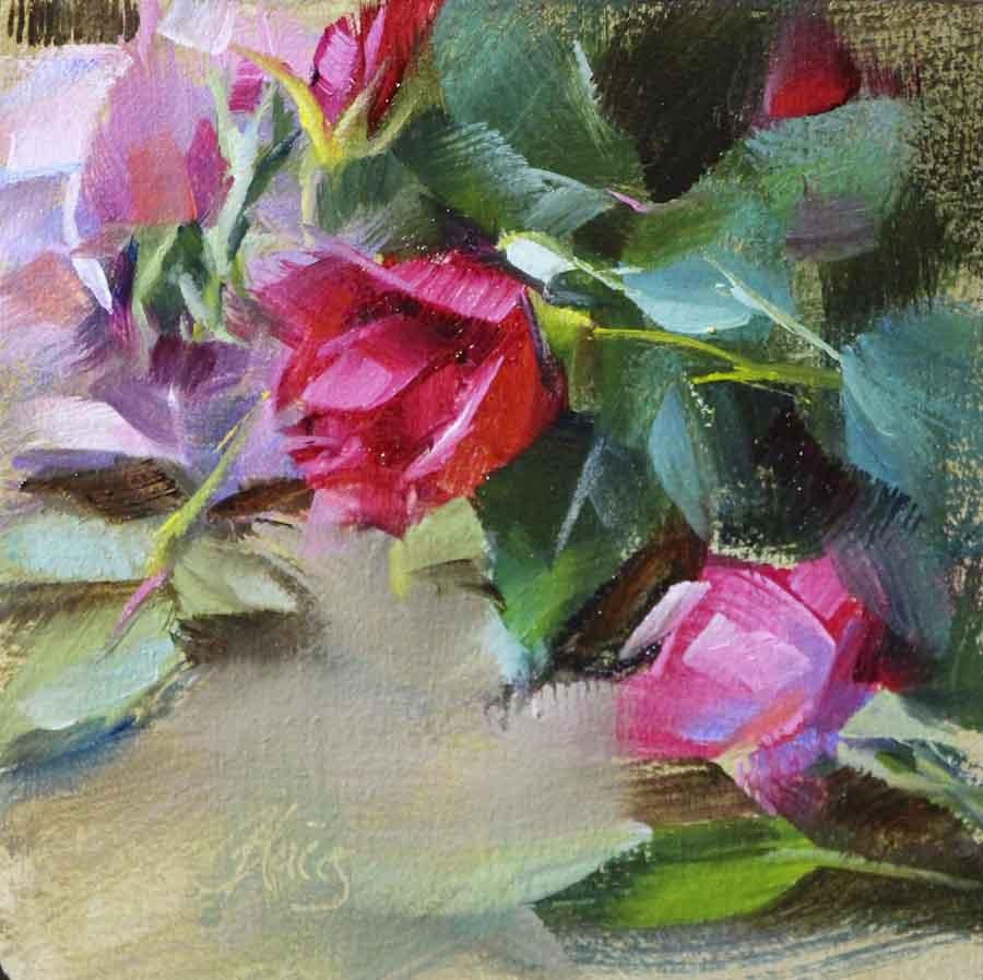 """Rosebuds"" original fine art by Pamela Blaies"