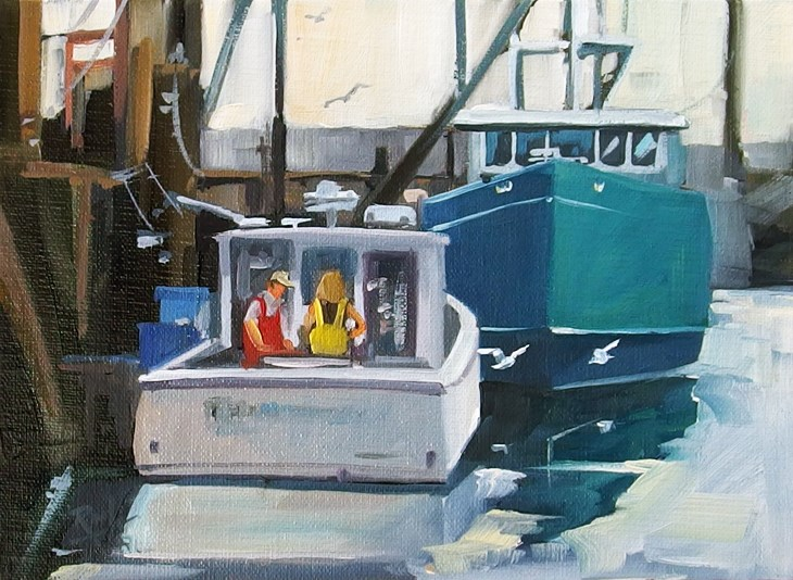"""No 819 Getting Ready to Go"" original fine art by Robin J Mitchell"