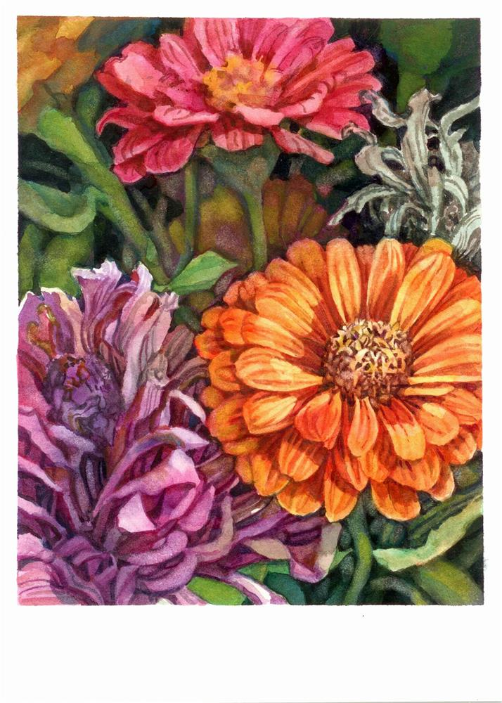 """Those Intense Zinnias!"" original fine art by Nicoletta Baumeister"