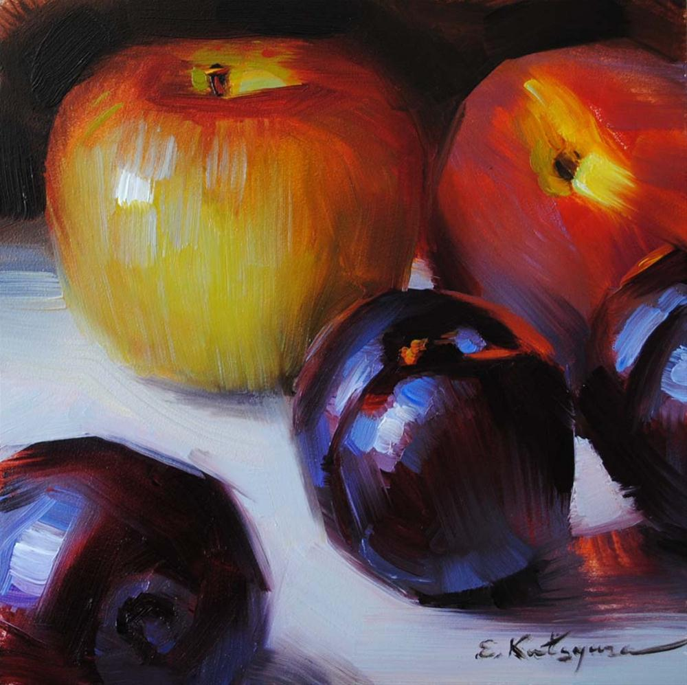 """Apple, Peach and Plums"" original fine art by Elena Katsyura"