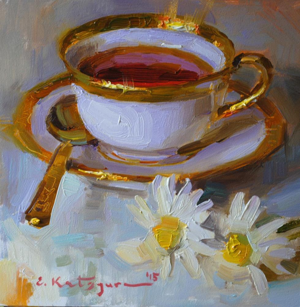 """Tea and Daisies"" original fine art by Elena Katsyura"