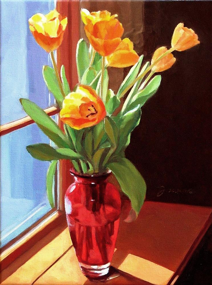 """Blooming By The Window--Painting of Yellow Tulips"" original fine art by Joanna Bingham"