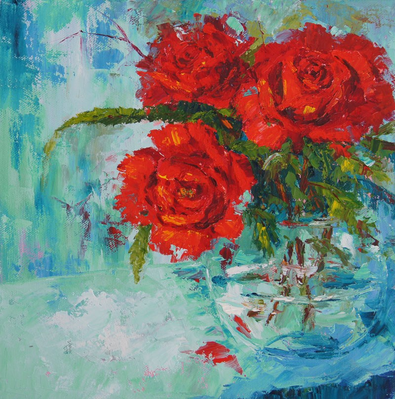 """Valentine Roses Still Life Painting"" original fine art by Marion Hedger"