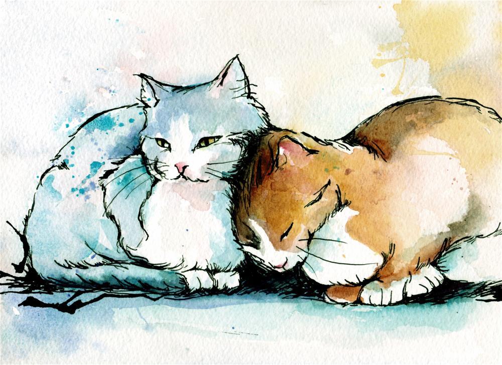 """Sweethearts"" original fine art by Christy Obalek"