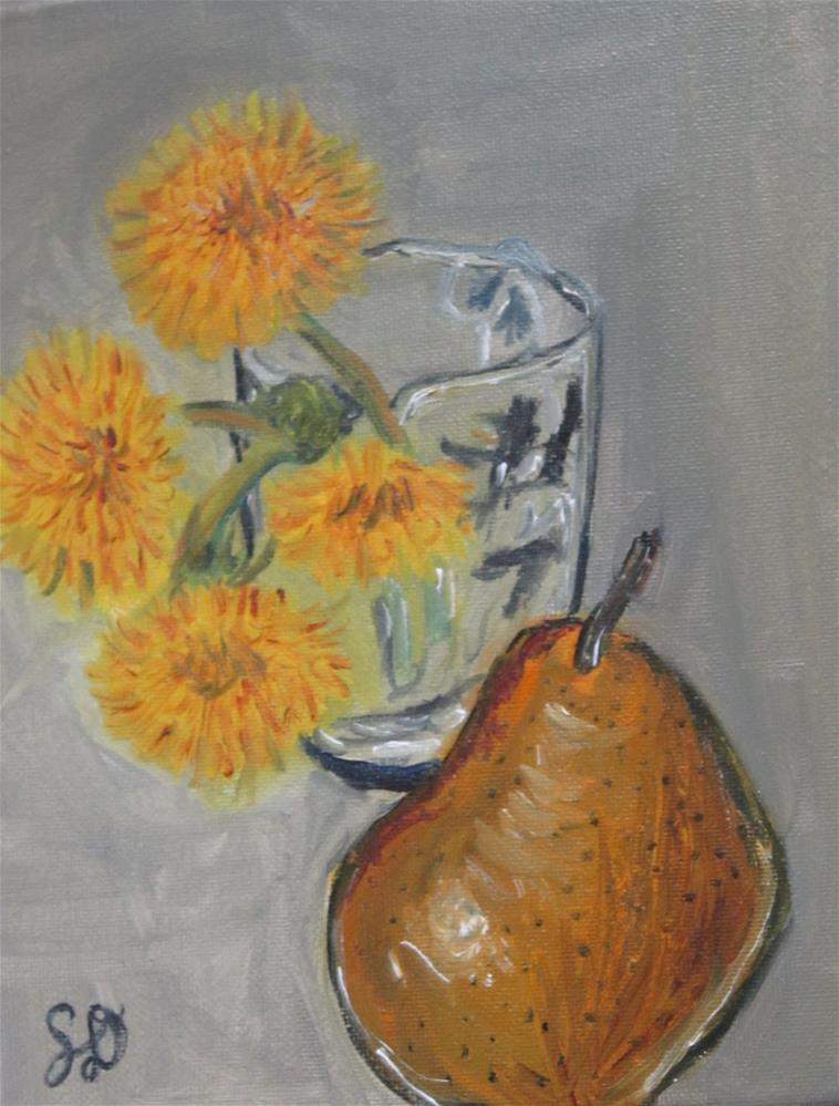"""Dandelions in glass with pear, still life"" original fine art by Samara Doumnande"